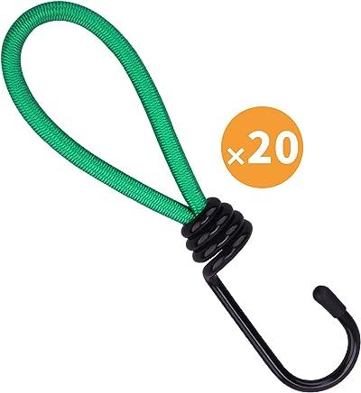 Spanngurt spannseil Spanngummi 8mm 10er Set 4 L/ängen Gummiband Spanner bungee cords valonic reflektierende Gep/äckspanner mit Haken spannb/änder Gep/äckgummi Expander