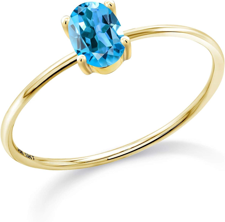 Gem Stone King 10K Yellow Gold Women Swiss Blue Engagement 春の新作シューズ満載 Topaz レビューを書けば送料当店負担