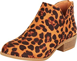 Cambridge Select Women's Classic Western Side V Cutout Chunky Block Low Heel Ankle Bootie