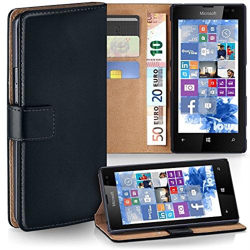 MoEx Cover a Libretto Compatibile con Nokia Lumia 520/525 | Fessura Carta + Soldi, Supporto, Nero