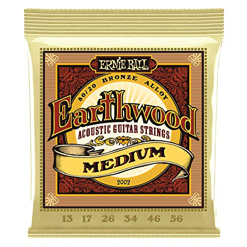 Ernie Ball Earthwood 80/20 Bronze Medium Acoustic Guitar Strings - 13-56 Gauge (P02002)