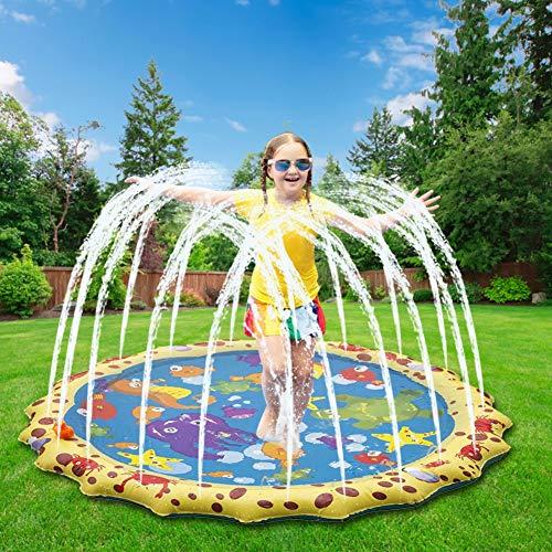 100cm Splash Pad, Keten Tapete de Aprendizaje para Salpicar con Rociadores para Actividades al Aire Libre, Juguetes Inflables de Agua para Bebés, Niños Pequeños y Niños