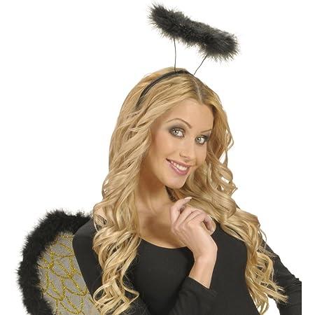 Amakando Cerchietto da Angelo Aureola Nero Corona di Luce Gloria Accessorio Vestito da Donna Cerchio per Capelli angioletto Coroncina radiosa per Costume Angelico