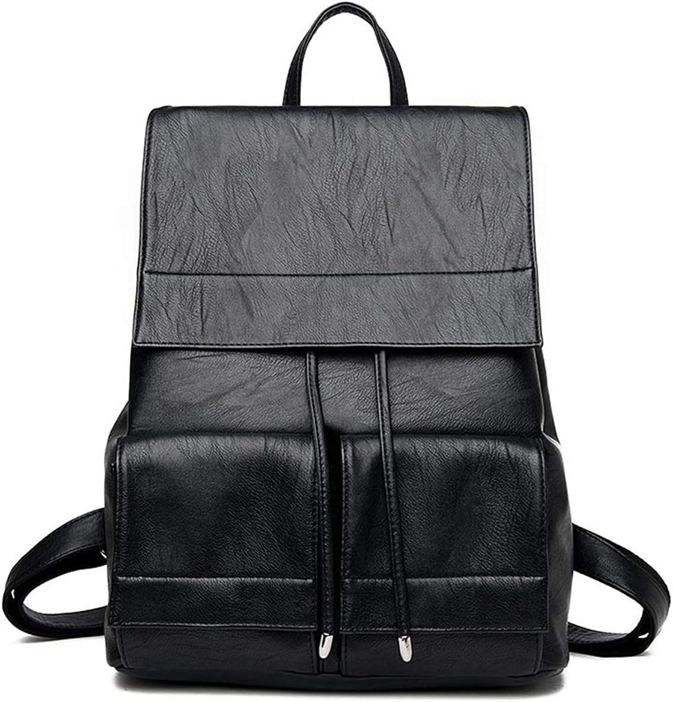 WEATLY Frauen echtes Leder Reiverschluss Umhngetasche Mdchen Schulrucksack (Farbe   schwarz)