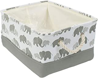 BEYONDY Storage Bins,Fabric Storage Baskets Towel Storage Bin Laundry Toy Basket w Drawstring Closure,Gray Elephant