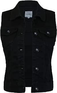 Women's Sleeveless Button up Jean Denim Jacket Vest
