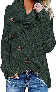 Sunmoot Button Blouse for Women Plus Size, Women's Long Sleeve Cowl Neck Irregular Hem Sweatshirt Pullover Tops T Shirt