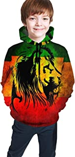 Cyloten Kid's Sweatshirt Jamaican Lion Flag Hoodie Teen's Thicken Sportswear Fleece Hood for Fall-Winter