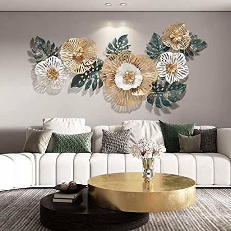 AJ Decor Metal Wall Art Iron Floral Wall Hanging Home Decoration Perfect for Living Room/Hotel/Restaurant/Bedroom/Drawing Room (Color : Multicolor) (Size: 140 X 60 cm) Medium