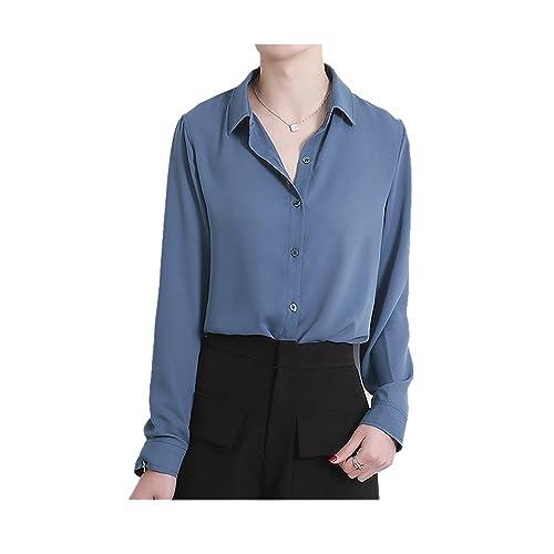 d1190cc6 ARJOSA Women's Chiffon Long Sleeve Button Down Casual Shirt Blouse Top