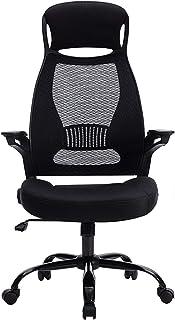 Sillas de escritorio de oficina Silla reclinable de oficina con respaldo alto Respaldo de malla transpirable, silla ergonómica giratoria de ocio con reposacabezas de ajuste de brazos abatibles, altu