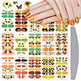 EBANKU 210 Pieces 15 Sheets Sunflower Full Nail Stickers Self-Adhesive Nail Wraps Nail Polish Strips with Nail File Nail Art Designs for Women Girls Nail Decoration Accessories