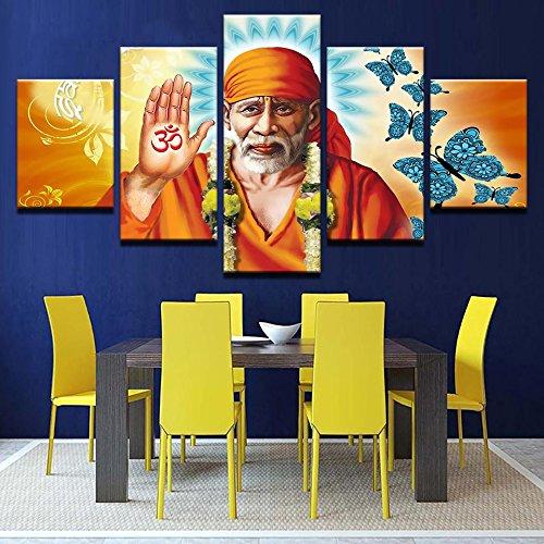 Zhuhuimin Pintura Arte de la Pared Lienzo Moderno Cartel Modular 5 Panel Sai Baba Buda HD Imprimir Sala de Estar Imagen Decoración del hogar