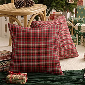 AQOTHES 2 Pack Christmas Plaid Decorative Throw Pillow Covers Scottish Tartan Cushion Case for Farmhouse Home Holiday Decor Red and Green 18 x 18 Inches