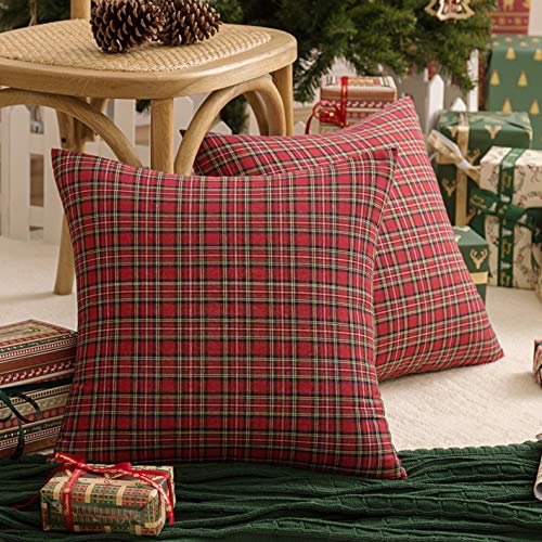 AQOTHES 2 Pack Christmas Plaid Decorative Throw Pillow Covers Scottish Tartan Cushion Case Cotton Polyester for Farmhouse Home Holiday Decor Red and Green, 18 x 18 Inches