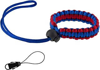 Allzedream Camera Wrist Strap Paracord Bracelet Adjustable for DSLR Binocular Cell Phone (Blue Red)