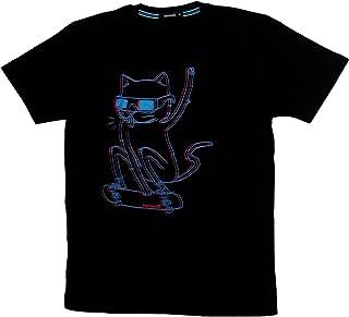 3Dネコ アナグリフな猫 おもしろ ジョーク 半袖 ネタ Tシャツ 3D CAT