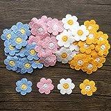 64Pcs Flower Sew On Decorative Patches Crochet Floral Applique Embellishments for Clothes, Bags, Arts Crafts DIY Decor, Hats, 16 Pcs/Color (Mixed Color)