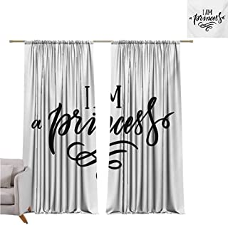 Andrea Sam Kitchen Curtains I am a Princess,Girlish Feminine Quote Well-Being Happiness Self-Love Theme Print,Black and White W108 x L96 inch,for Living Room