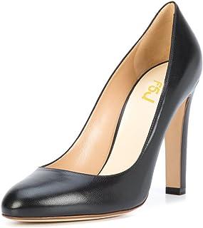 0ac06a39cb8e6 FSJ Women Elegant Round Toe Formal Pumps Slip On Office Dress Shoes Chunky Heels  Size 4