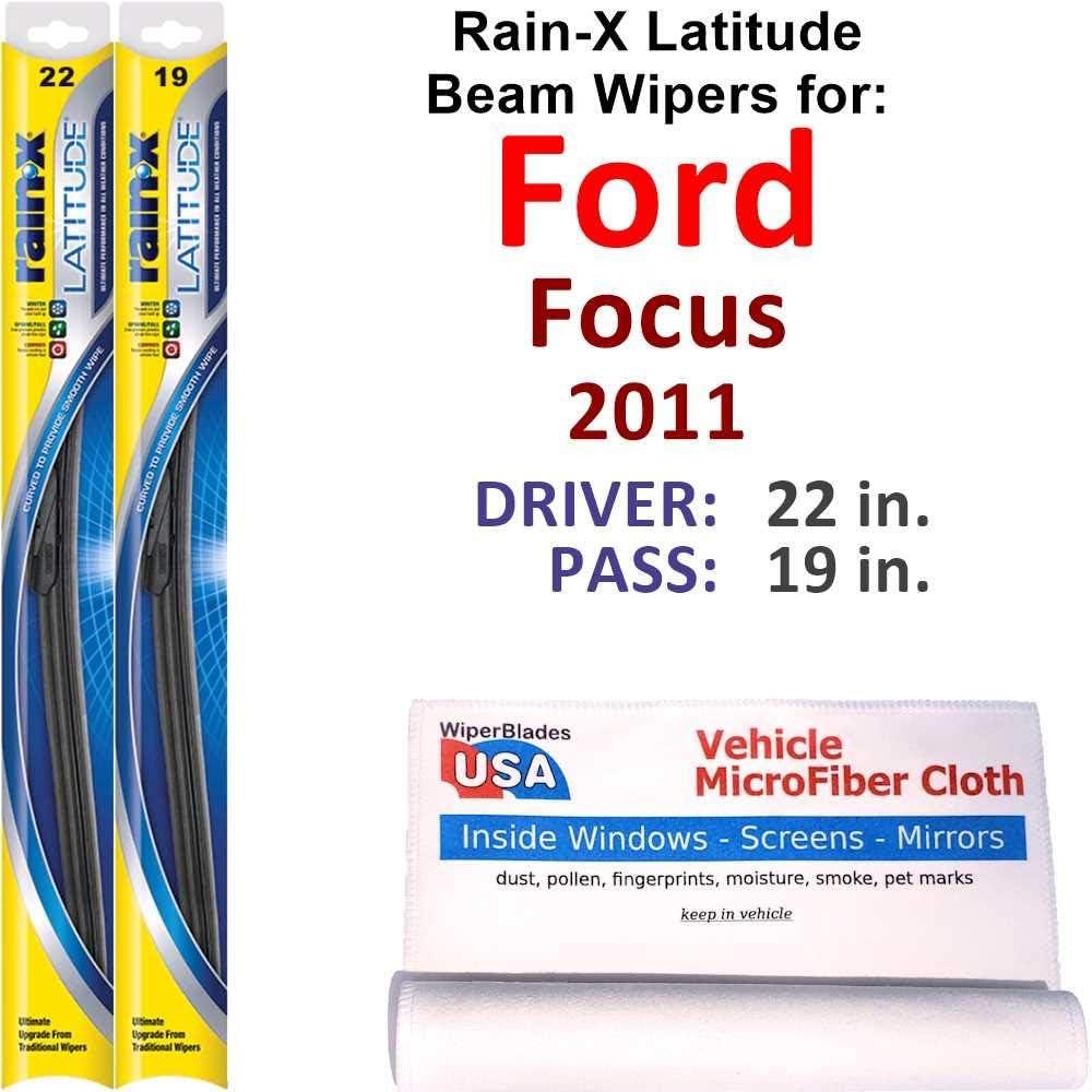 Rain-X Latitude Beam Wiper Genuine Blades for 2011 Set Fixed price for sale Ford Focus