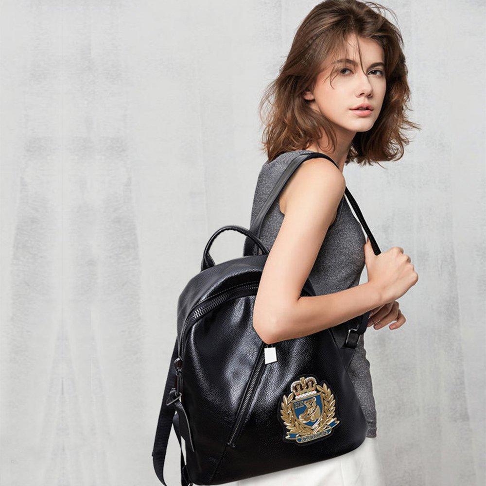 Shuo Ren 2019年夏の新しいショルダーバッグ女性の旅行バッグヨーロッパとアメリカのトレンドソフトレザーレザー女性のバッグ刺繍入り学生パーソナリティレザーバックパック韓国の大学風バッグLTS 065(ブラック)