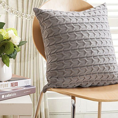 Unimall Cotton Cushion Cover Grey 18x18 inches European Style Soft Cable Knitted Pillowcases Square Throws Home Decorative Pillowslip for Sofa,45x45 cm