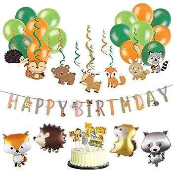 Sunbeauty Anniversaire Animaux De La Foret Happy Birthday Decoration Kit Tourbillon Suspendu Guirlande Papier Jungle Birthday Deco Cake Topper Animaux Pour Enfant Fille Garcon Amazon Fr Cuisine Maison