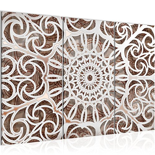 Bilder Mandala Abstrakt Wandbild 120 x 80 cm Vlies - Leinwand Bild XXL Format Wandbilder Wohnzimmer Wohnung Deko Kunstdrucke Braun 3 Teilig - MADE IN GERMANY - Fertig zum Aufhängen 109631a