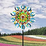 SETSCZY Wind Spinner Emerald 213cm Single Easy Spinning Kinetic Wind Spinner for Outside – Vertical Metal Sculpture Stake Construction for Outdoor Yard Lawn & Garden