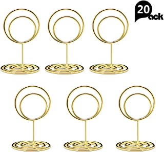 Jofefe 20pcs Mini Place Card Holders, Cute Table Number Holders, Classy Table Card Holder Table Picture Stands, Elegant Wire Photo Holder Menu Memo Clips, Idea for Wedding, Anniversary Party (Gold)