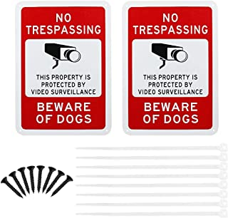 GOLRISEN Video Surveillance Sign 2 Pcs No Trespassing Security Alert Metal Sign Warning 24 Hour Video Surveillance for Indoor or Outdoor Use, 14x10 Inch