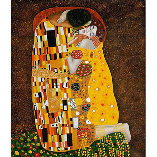 Ningning Diamond Painting Love Couple Kiss DIY 5D Full Drill Paint with Round Rhinestone Art for Adults and Beginner for Home Decor, Gift(Gustav Klimt Kiss Famous Painting, 11.8x15.8inch)