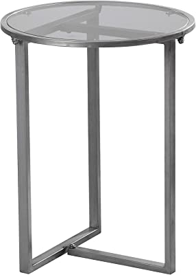 "FirsTime & Co. Hayden Industrial Accent Table, 21.5""H x 16.5""D, Dark Silver"