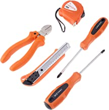 5-Piece Plier, Cutter, Measuring Tape And Screwdriver Tool Set Orange/Black/Silver