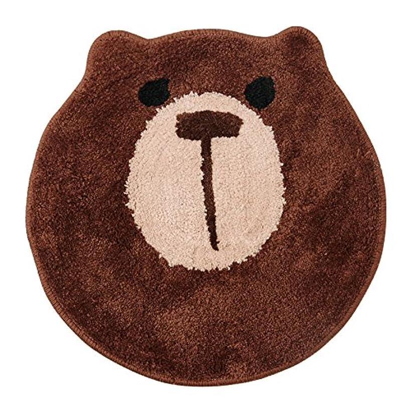 注目すべきルアーハンマーイケヒコ バスマット 洗える マット アニマル 熊 クマ 『動物マット(くま)』 ブラウン 約40cm丸 裏:滑りにくい加工
