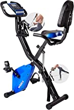 WHTOR Folding Exercise Bike, Stationary Magnetic Upright Cycling Bike with Arm and Leg Workout for Home Indoor, WHT100102