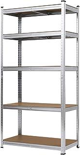 MAXPLUS Étagère de rangement en métal, étagère de garage, étagère de charge lourde, étagères réglables en hauteur, 180 x 9...