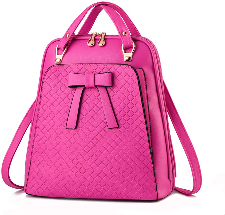 Ladies Backpack Shoulder Bag Korean Version of The Influx of Women Bag School PU Leather Backpack pink red