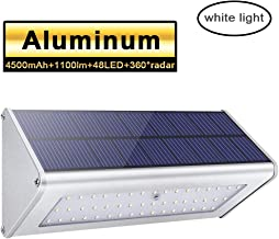 48 LED Solar Outdoor Lights 1100lm 4500mAh Aluminum Alloy Housing 360° Radar Motion Sensor IP65 Waterproof Outdoor Security Solar Lights, for Step, Garden, Yard,Fence, Deck-White Light
