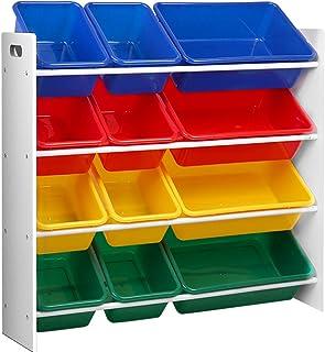 Keezi 12 Plastic Bins Kids Toy Organiser Box Bookshelf Storage Children Rack