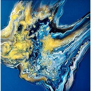 40 x 40 x 1,9 cm I Acryl Pouring I original handgemaltes Einzelstück I blau, gold, weiß I Leinwand auf Keilrahmen I…