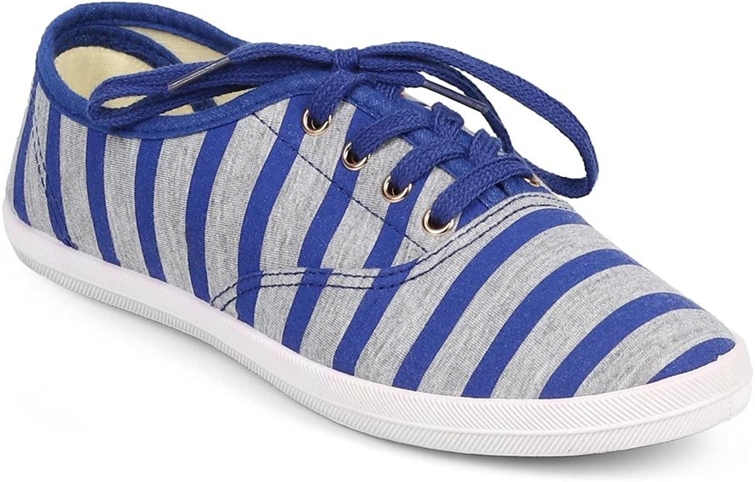 Wild Diva DF34 Women Striped Canvas Round Toe Classic Lace Up Sneaker - bluee