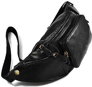 Livan® L4011 - Bolso de mano vacío con cremallera y 2 fuelles, piel auténtica, para hombre