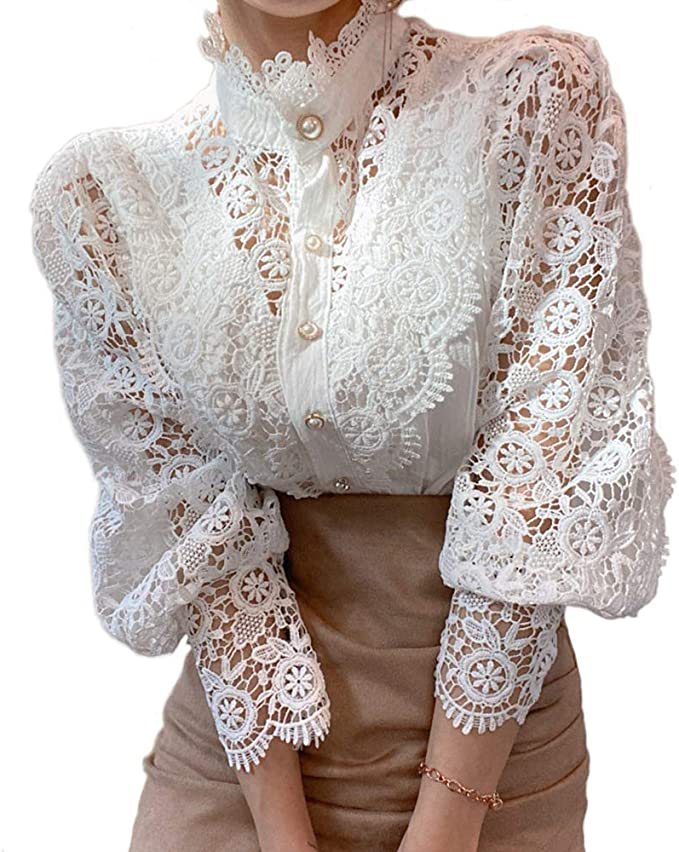 1900 -1910s Edwardian Fashion, Clothing & Costumes Women's Stand Collar Lace Patchwork Shirts Casual Hollow Out Flower Petal Sleeve Button Tops  AT vintagedancer.com