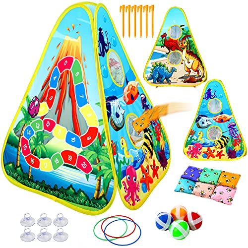 Bean Bag Toss Gamefor Kids, Indoor and Outside Toys for Kids, Toddler Outside Toys with 6 Bean Bags & 4 Sticky Balls & 3 Hoops, 3 in 1 Games for Kids Ages 4-8