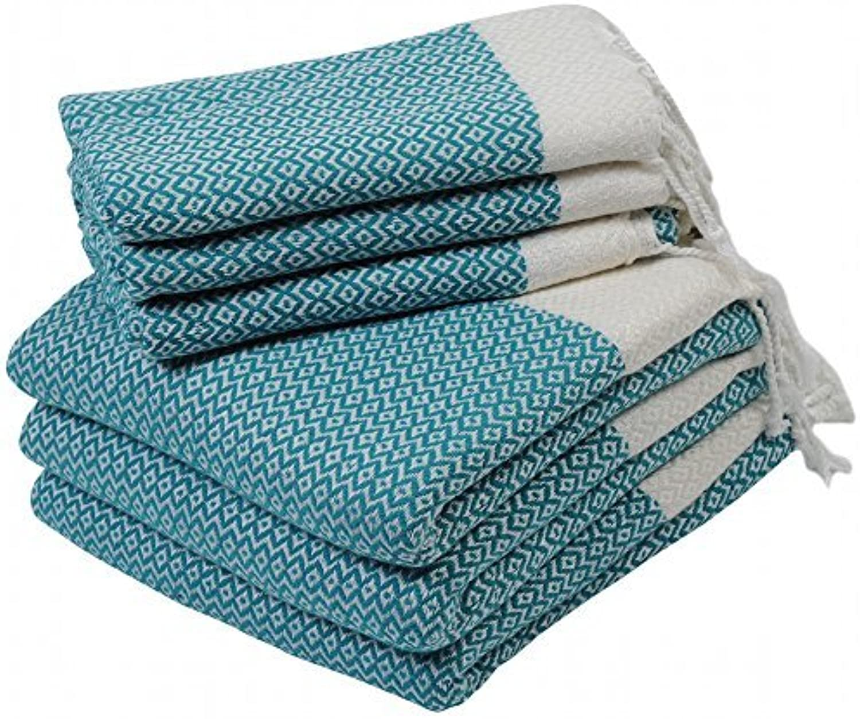 LaModaHome (Set of 6) Premium Turkish Cotton Peshtemals - 3 Bath & 3 Hand Face Dish Towels Soft, Quick Dry, Highly Absorbent, 6 Nile