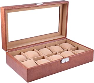 Laveri Synthetic Glass Top Watch Box, Brown