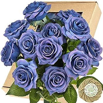 FiveSeasonStuff Fake Roses Wedding Flowers Real Touch Silk Midnight Blue Artificial Flowers 12 Stems