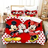 Supstar Kids Bedding Set Queen 3 Pieces Mickey and Minnie Mouse Red Floral Comforter Cover Set Super Soft Microfiber Bed Collection Including 1Duvet Cover, 2Pillowcases